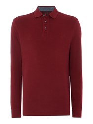 Howick Paxton Plain Pique Long Sleeve Polo Shirt Maroon