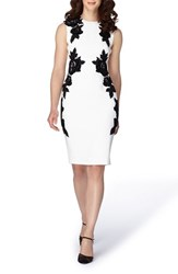 Tahari Women's Applique Crepe Sheath Dress Ivory Black