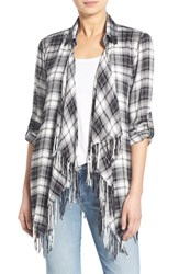 Women's Willow And Clay Fringe Plaid Long Sleeve Shirt