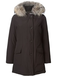 Woolrich Trimmed Hood Padded Parka Brown