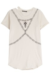 Alexander Mcqueen Printed Cotton T Shirt With Distressed Detail Beige