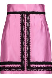 Dolce And Gabbana Embroidered Silk Blend Satin Mini Skirt Pink