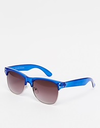 New Look Clubmaster Sunglasses Blue