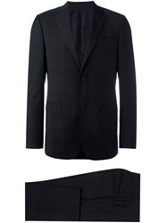 Z Zegna Notched Lapel Suit Black