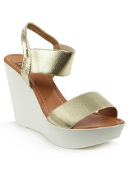 Daniel Kefalonia Two Bar Stretch Wedge Sandals Metallic