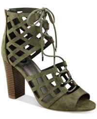 G By Guess Iniko Caged Lace Up Sandals Women's Shoes Medium Green