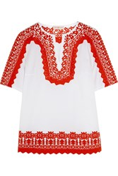 Tory Burch Isla Embroidered Stretch Cotton Poplin Tunic White Red