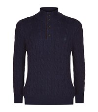 Polo Ralph Lauren Silk Cotton Cable Knit Jumper Male Navy