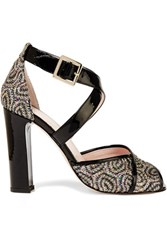 Red Valentino Redvalentino Patent Leather Trimmed Glittered Woven Sandals Black