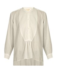 Nili Lotan Greenwich Sheer Striped Cotton Blouse White