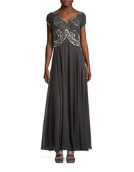 J Kara Beaded Short Sleeved Embellished Bodice A Line Gown Slate