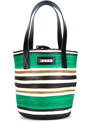 Marni Striped Straw Shopper Green