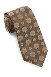 Alara Silk Textured Floral Medallion Tie Brown