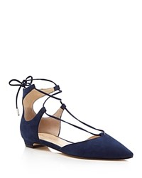 Ivanka Trump Tavyn Suede Lace Up Pointed Toe Flats Dark Blue