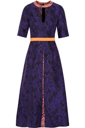 Roksanda Ilincic Layne Herringbone Silk Midi Dress Purple