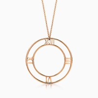 Tiffany And Co. Atlas Round Pendant In 18K Rose Gold Large.
