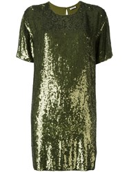 P.A.R.O.S.H. Sequined Shift Dress Green
