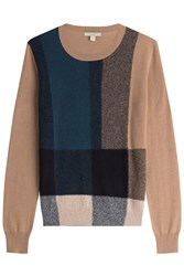 Burberry Brit Checked Pullover With Cotton And Cashmere Multicolor