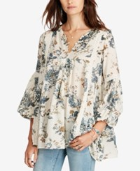 Denim And Supply Ralph Lauren Floral Print Gauze Tunic Cream Floral