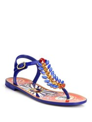 Dolce And Gabbana Embellished Rubber Thong Sandals