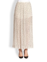 See By Chlo Pleated Printed Maxi Skirt Strawberry White