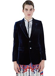 Saint Laurent Angie Velvet Blazer Jacket Navy