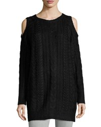John And Jenn Cold Shoulder Cable Knit Sweater Dress Black