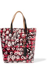 Marni Leather Trimmed Printed Pvc Tote Red