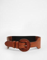 Pieces Tecla Leather Waist Belt Tan
