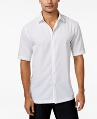 Alfani Black Men's Big And Tall Textured Grid Pattern Short Sleeve Shirt Only At Macy's Bright White