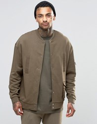 Asos Oversized Jersey Ma1 Bomber Jacket With Military Woven Pockets And Snaps Khaki Green