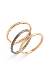 Ija Stackable Hammered Rings Set Of 3 Mixed Metals