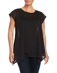 Rafaella Cap Sleeve Sharkbite Tunic Top Black