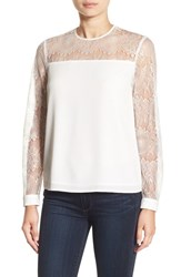 Cooper And Ella Women's 'Pasha' Lace Sleeve Top White