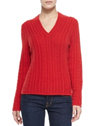 Neiman Marcus Cable Knit Cashmere V Neck Sweater Red