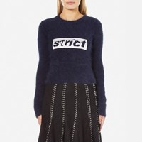 Alexander Wang Women's Shrunken Pullover With Embroidery Graphic Navy Blue