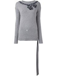 Marc Jacobs Sequinned Bow Jumper Grey