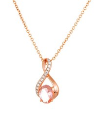 Lord And Taylor Morganite Sterling Silver Pendant Necklace Rose Gold