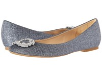 Badgley Mischka North Pewter Woven Metallic Fabric Women's Flat Shoes