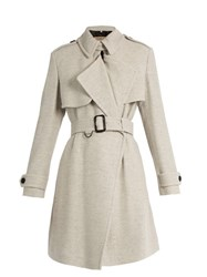 Burberry Leveson Cashmere Trench Coat Light Grey