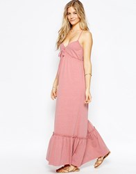 Asos Strappy Tiered Maxi Dress Blush Pink