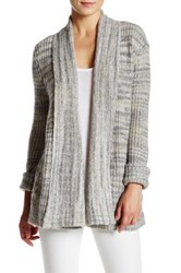 Three Dots Long Sleeve Open Front Cardigan Gray