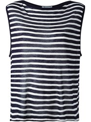 T By Alexander Wang Striped Top Blue