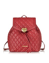 Love Moschino Heart Quilted Eco Leather Backpack Red