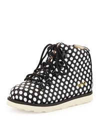 Akid Polka Dot Leather Bootie Black White Black White Dots