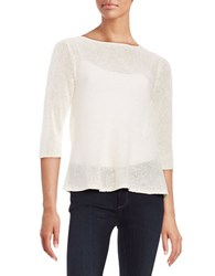 Eileen Fisher Mesh Knit Pullover White