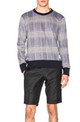 Thom Browne Oversize Check Pique Long Sleeve Tee In Blue Checkered And Plaid