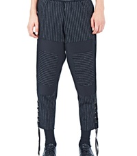 Aganovich Pinstripe Patchwork Trousers Black