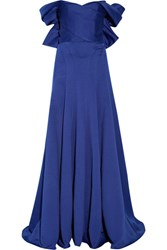 Marchesa Off The Shoulder Duchesse Satin Gown Royal Blue