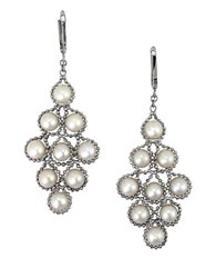 Effy White Pearl And Sterling Silver Chandelier Drop Earrings Pearl Silver